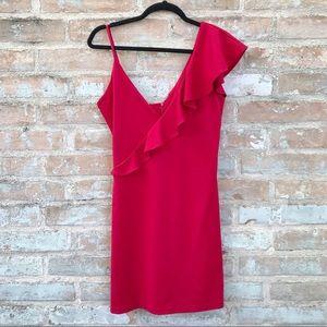 Red Mini Dress Ruffle Bodycon by Amanda Uprichard